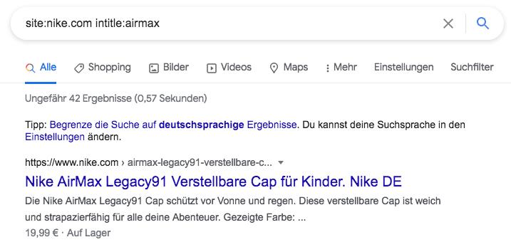 Google Suche der Keywords